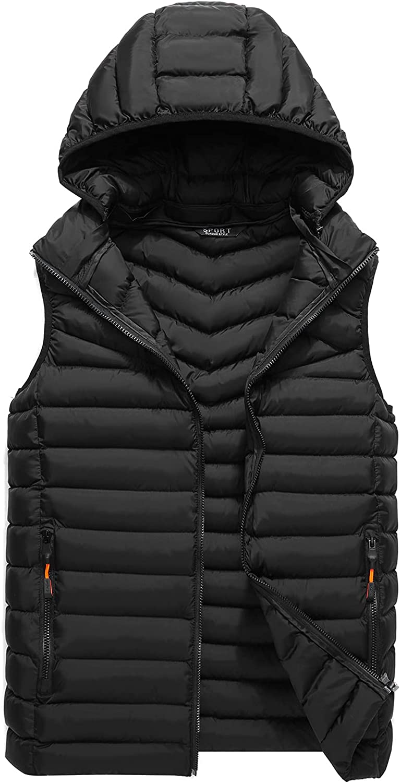 PEHMEA Men's Lightweight Quilted Puffer Down Vest Warm Sleeveless Jacket Outwear with Hood