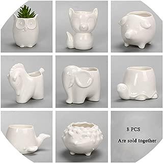 Creative Ceramic Flowerpot Planter Bonsai Garden Pots Planters Jardin Bonsai Desk Succulent Flower Pot Cute Animal Pots,8 Different Animals