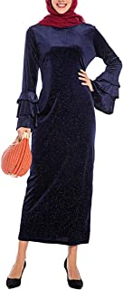 KRUIHAN Women Muslim Oversized Abaya Kaftan - Ladies Sequin Velvet Ball Dress Long Sleeve Islamic Clothing