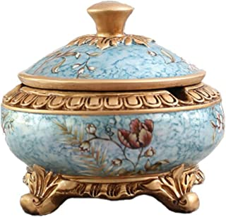 LBLMS Ashtray, European Retro Ashtray, Decorations, Ashtray with Lid, Home Study/Living Room/Practical Trend Ashtray Decorations, Gifts, (Color : Multi-Colored)