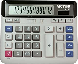 Victor 2140 12-Digit Standard Function Desk Calculator, Large Keys, Battery and Solar Hybrid Powered LCD Angled Display, G...