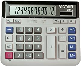 Victor 2140 12-Digit Standard Function Desk Calculator, Large Keys, Battery and Solar Hybrid Powered LCD Angled Display, G... photo