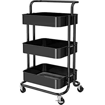 Collapsible Rolling Cart Multifunction Utility Cart Easy for Storage /& Portable 3-Tier Foldable Kitchen Shelf Shelving Unit Storage Cart with Wheels 66 lbs Weight Capacity Silver