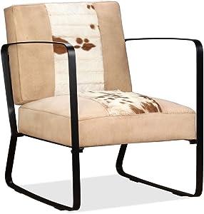 Festnight Loungesessel Sessel aus Echtes Ziegenleder und Segeltuch Wohnzimmersessel Polstersessel Cremefarben 60 x 64 x 74 cm