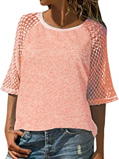 af2bfc43a9f TWGONE Half Sleeve Shirt Women Plus Size Casual Tops Lace Stitching Scoop  Neck Blouse