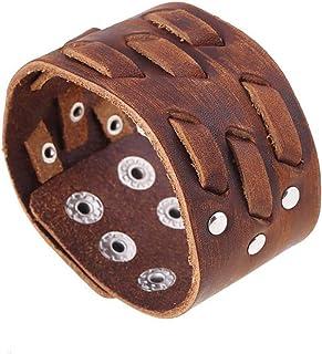 MXYZB Genuine Leather Bracelet Adjustable Wide Belt Cuff Bangle Punk Rock Wrap Handmade Jewelry for Men, Women (Brown)