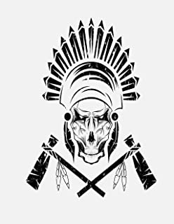 Eaiizer Poster Wall Art Print Brown Native American Chief Skull in Tribal Headdress Tomahawks 18x27 Inches Artwork for Home Bedroom Decor