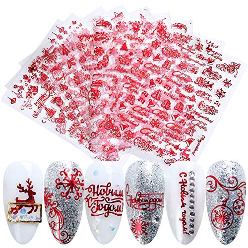 3D Christmas Nail Art Stickers Red Winter Nail Decals Self-Adhesive Fingernail Decorations 8 Sheets Xmas Tree Snowflake Bell Reindeer Santa Claus Snowman Nail Stickers for Manicure Tips Decor