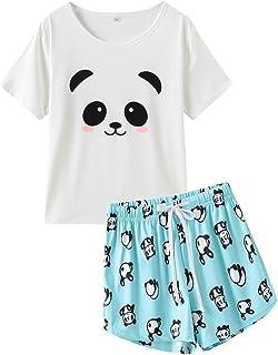 VENTELAN Pajama Women Cute Animal Sleep Tee Shirt Shorts Set Summer Sleepwear