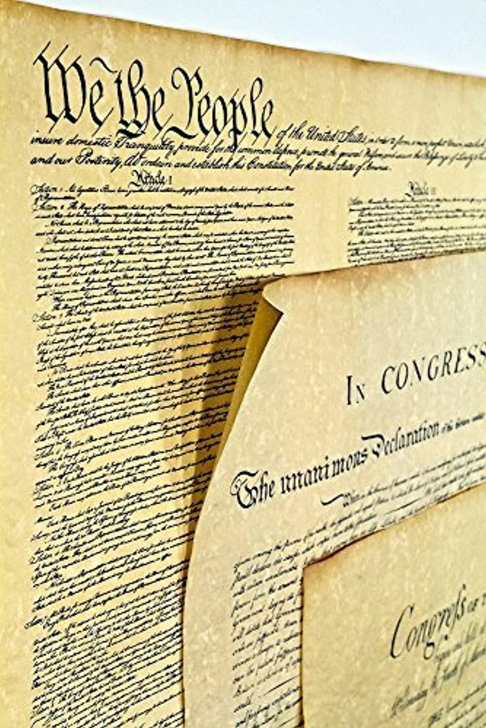 Declaration of Independence 23 X 29, Constitution of the U.S. 23 X 29, Bill of Rights 23 X 29 Posters Shipped in Mailing Tube by Historical Documents