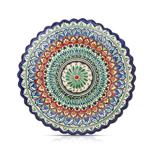 Orientalischer Lagan Ляган Rishtan Keramik Teller handbemalt Ø 25 cm reliefrand, blau
