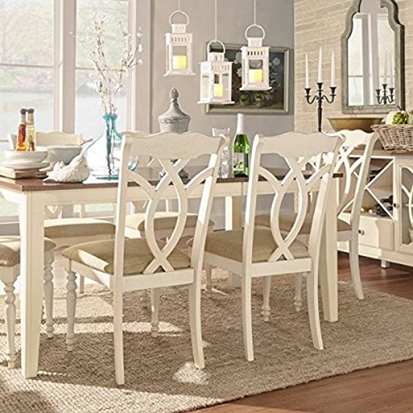 TRIBECCA HOME Shayne Country Antique White Beige Side Chairs Set Of 2