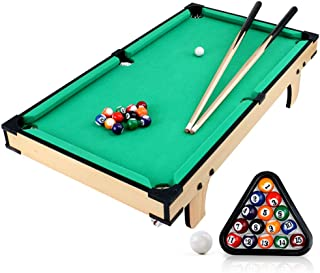 31-Inch Indoor Mini Tabletop Pool Table Set with 1 Triangle, 16 Balls, 2 Cues, 2 Pieces of Chalk and 1 Brush - Small Billi...