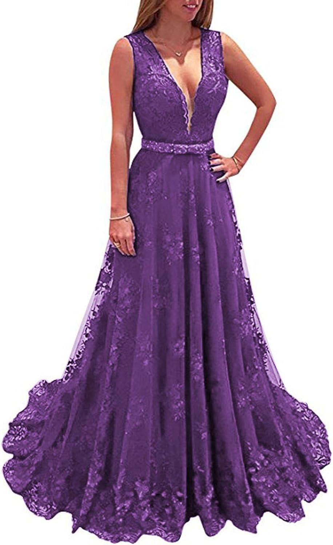 Beautydress Elegant Women Lace Prom Dresses V Neck Long Evening Dress Formal