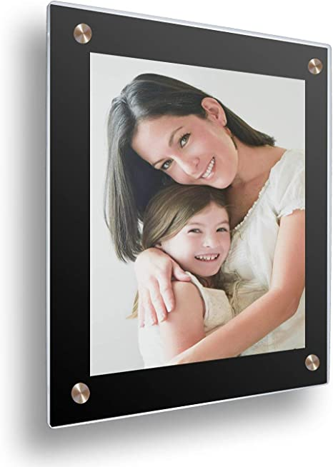 Glossy Gallery Floating Frameless Double Panel Acrylic Wall Mount Frame With Black Border For Pictures Up To 12x16 Inches Full Frame Is 16x20