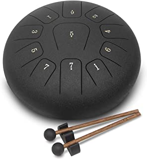 GUNAI Steel Tongue Drum 12 Inch 11-Tone C Key Pan Drum Percussion Instrument with Mallets,Music Book,Carry Bag,Great for Yoga,Relieves Stress,Meditation