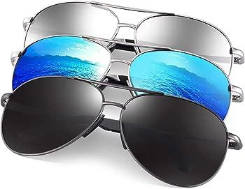 3 Pack Feirdio Polarized Aviator Unisex Sunglasses