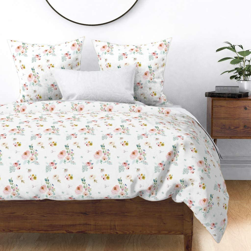 Special sale item Roostery Duvet Cover Spring Pink Floral Baby Vintage Fort Worth Mall Watercolor