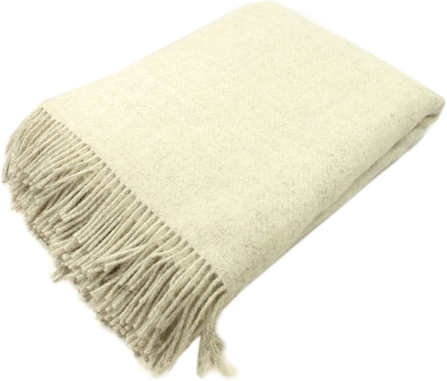 "Biddy Murphy Irish Wool Blanket 100% Natural Lambswool Non-Dyed Throw 71"" Long by 52"" Wide Fringed Soft and Warm Woven Home Décor Made in Ireland"