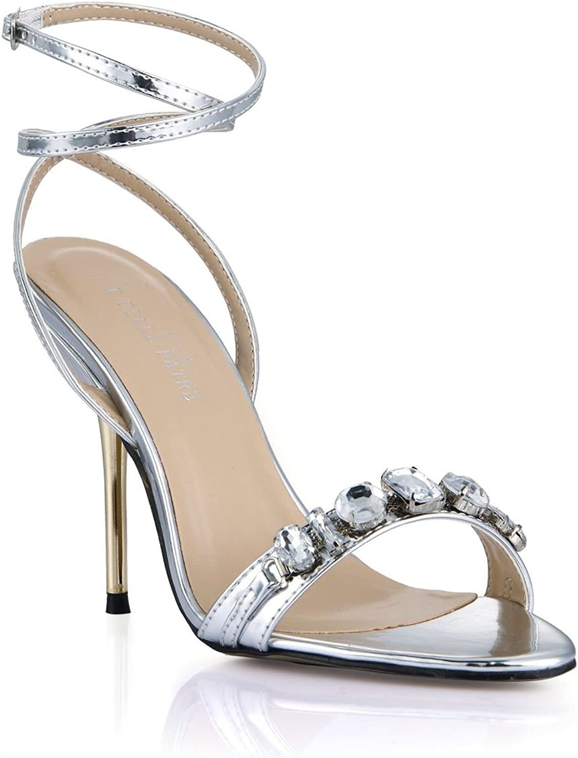 Dolphin Women's Rhinestone Open Toe High Heel Sandals with Ankle Strap Wedding Dress Pumps SM00009