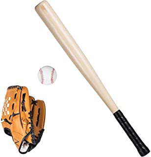 Baseball Toy Set Anti Skid Wooden Baseball Bat Durable Toddler Baseball Glove Lightweight Safety Sports Toy Gift Set With Portable Carrying Bag For Kids Children Boy Girl Youth Adult Outdoor Fun
