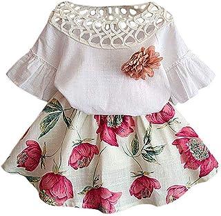 Distinguished Elegant Fashion Toddler Baby Kids Girls Clothes Set Short Sleeve Shirt Tops Flowers Skirt Short Dress Summer...