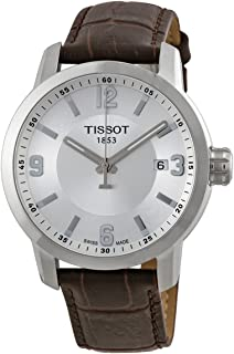 Tissot PRC 200 Quartz Silver Dial Brown Leather Sport Mens Watch T0554101603700