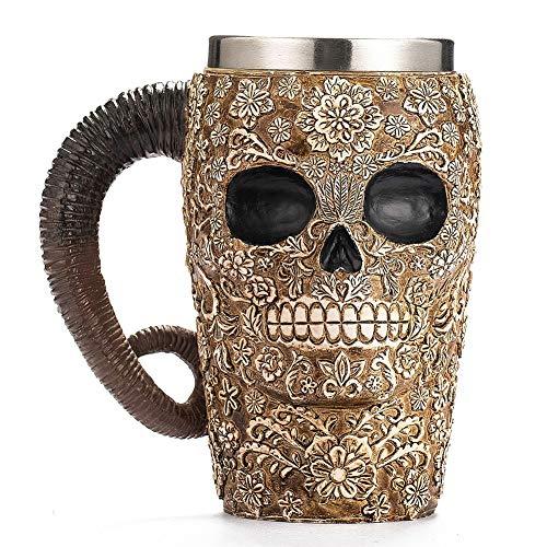 YWhuaSMGS Skull-Shaped Household Beer Mug Halloween 3D Vintage Resin Coffee Tea Cup