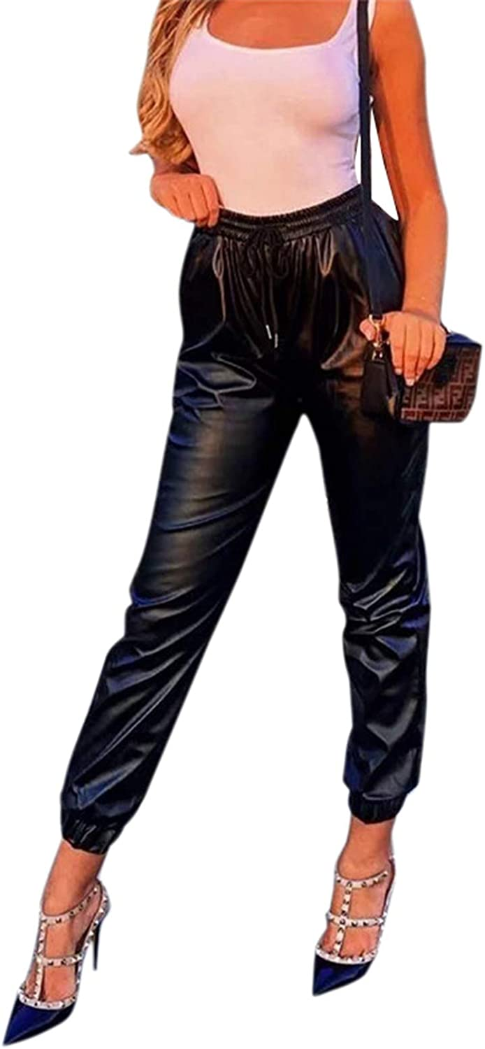 NEEXIJI Women Leather Casual Pants Drawstring Solid Color High Waist Loose Pants