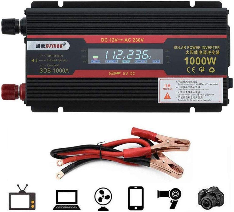 NBQABN Inversor De Corriente 1000w, 12V / 24V A 220V Convertidor De Voltaje USB Power Inverter con 1 Enchufe Y Pantalla LCD, para AutomóVil, Camping, Viajes,12vTo110v