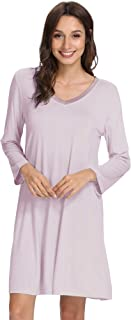 WiWi Bamboo قمصان نوم ناعمة بأكمام طويلة قابلة للتمدد ملابس نوم كبيرة الحجم ملابس نوم للنساء S-4X