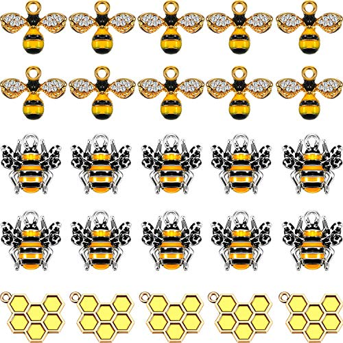 35 Pieces Bee Charm Set Bee Charms Pendant with Rhinestone Enamel Honeycomb Charms Alloy Bee Jewelry Charms for DIY Jewelry Necklace Earring Bracelet Making Supplies