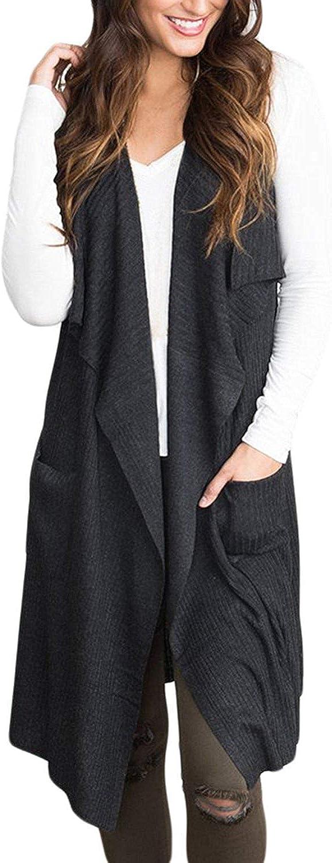 Fashion 1938 Womens Open Front Sleeveless Sweaters Long Knit Cardigan Vest SXXL