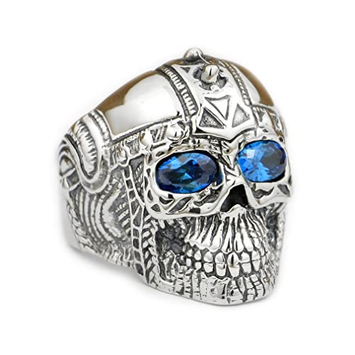 01cf314d3cdc2 Skull Ring with Blue Eyes: Amazon.com