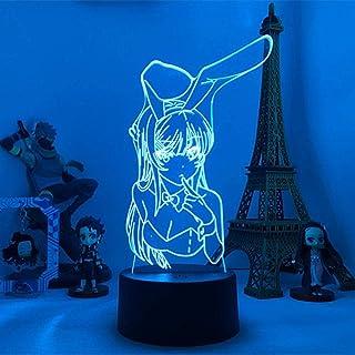 BTEVX Lámpara de noche LED de ilusión 3D para de niños Luz de noche LED de anime para de dormitorio Mai Light Mai Sakurajim Regalo para amigo Sakurajima Bunny Girl Lámpara LED Regalo de anime