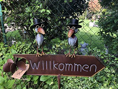 E-X Gartenstecker Willkommen Schild mit Windrad Raben Metall Beetstecker Deko Stab