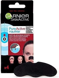 Garnier Skin Active PureActive Tiras de Carbón Anti Puntos Negros Espinillas y Poros de la Nariz - 4 Tiras