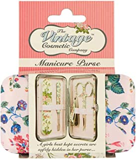 The Vintage Cosmetic Company | Manicure Purse | 4 Piece Set | Scissor, Cuticle Pusher, Emery Board, Clipper | Pink Floral - For Emergencies, Travel, Purse | Compact, Lightweight & Durable | 0.3 oz
