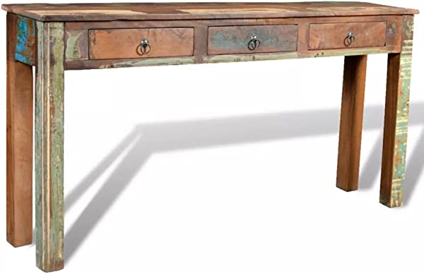 Festnight Rustic Console Table With 3 Storage Drawers Reclaimed Wood Sideboard Handmade Entryway Living Room Home Furniture 60 X 12 X 30 L X W X H