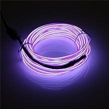 Jiguoor EL-kabel El Linie EL-verlichtingskabel neonbatterij elektroluminescentie met 3 modi voor feestdecoratie (lila)