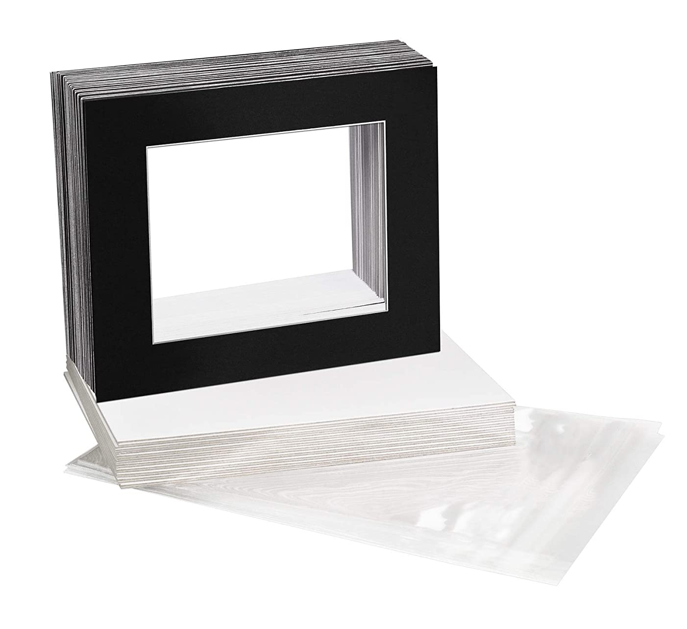 Golden State Art, Pack of 25, 16x20 Black Picture Mats Mattes with White Core Bevel Cut for 11x14 Photo + Backing + Bags