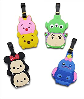 Finex Set of 4 - Mickey Mouse Minnie Mouse Friends Travel Luggage ID Tag for Bags Suitcases with Adjustable Strap