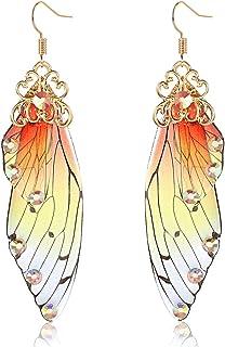 PHALIN Butterfly Dangle Earrings for Women Multicolored Butterfly Wing Hook Earrings Acrylic Insect Drop Earrings for Summ...