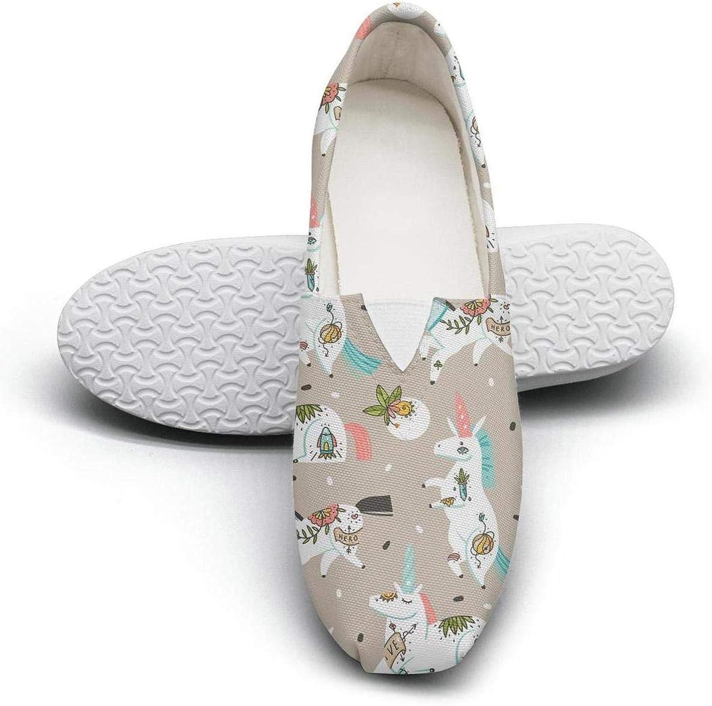 Rave unicorn head Fairytale Princess Women's Extra Light Flat Slip on shoes Ladies Espadrille Flats