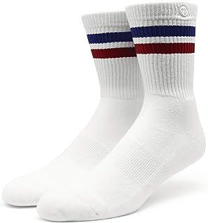 Spirit of 76, 76 Sports Crew Socks - Calcetines deportivos retro con rayas, color blanco, azul y rojo a rayas
