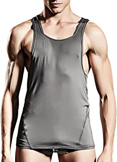 Zhhlinyuan メンズファッション Mens Soft Gym Vest Men's Training Bodybuilding Sleeveless Sportswear Solid Color
