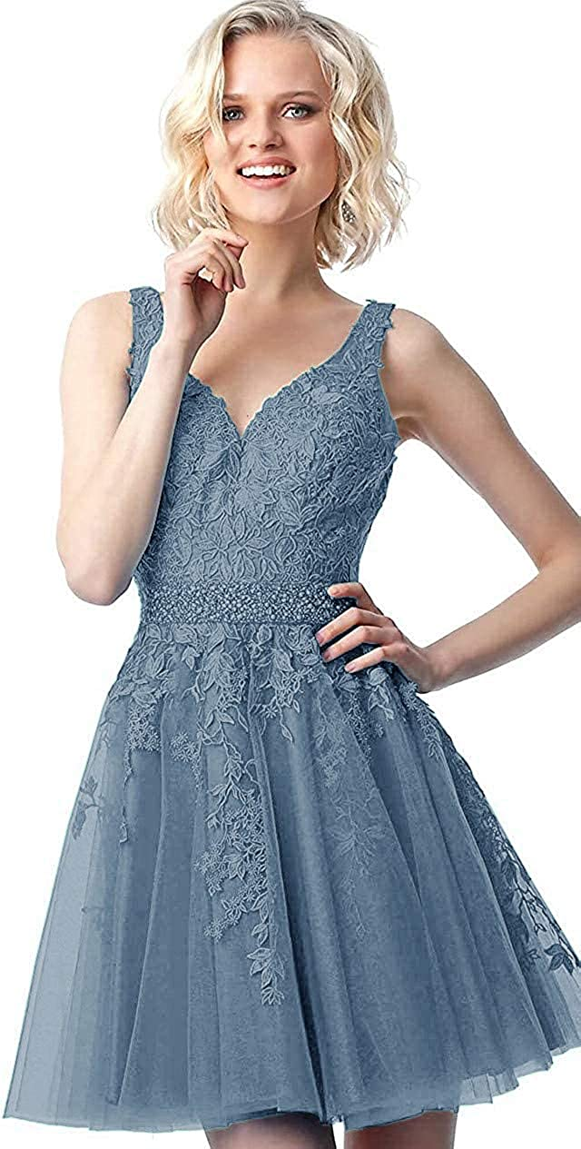 Tianzhihe Tulle Lace Junior Homecoming Dress Short V Neck Cocktail Dress Formal Party Gown