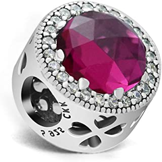 CKK 925 Sterling Silver Openwork Clover Cerise Red Bead Fits for Pandora Charm Bracelets for Birthday Jewelry