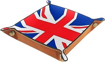 HOHOHAHA Składana taca do toczenia kości ze skóry PU do zegarka biżuteria pudełko do przechowywania uchwyt Union Jack 16 x...