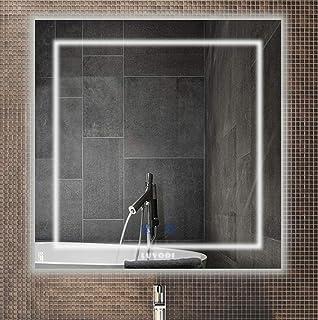 LUVODI Espejo de Baño LED 80 x 80cm Espejo Antivaho para Baño Pared con Interruptor Táctil 3 Modos Ajustables Espejo Cuadrado con Luz Blanca Fría/Blanco Caliente